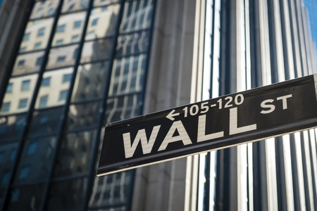 Sign for Wall Street in New York City Stock Photo