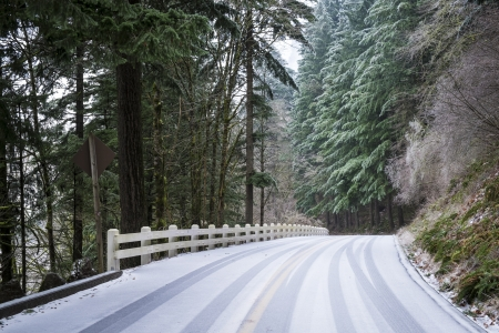 Snow covering a rural road in the Pacific Northwest