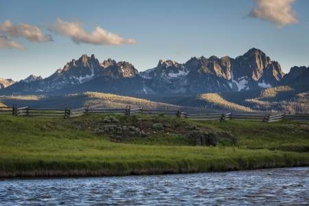View of the Sawtooth Mountain Range in Idaho Stock Photo