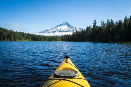 trillium lake: Kayak in Trillium lake, Mt  Hood, Oregon