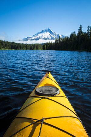 Kayak in Trillium lake, Mt  Hood, Oregon