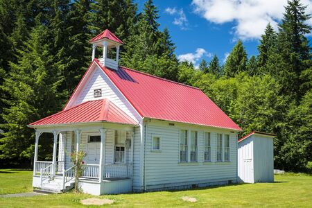 Old one-room rural school house in Oregon photo