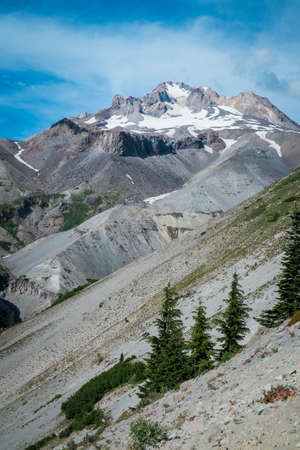Steep slopes on Mt. Hood in the cascade range of Oregon Stock Photo