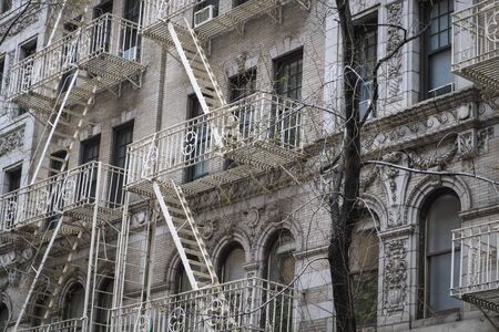 multifamily: Fire escapes on building in New York City Stock Photo