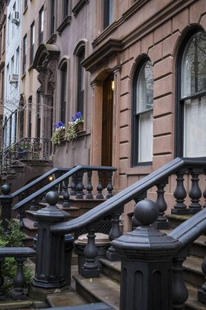 brownstone: Brownstone apartment buildings in New York City Stock Photo