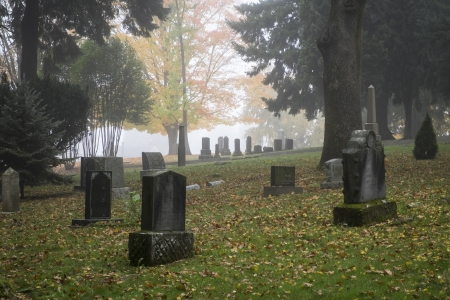 headstones: Old Pioneer Cemetery and headstones in fog Stock Photo