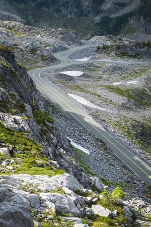 Mountain road winding among rocks in Washington state Stock Photo - 22941734