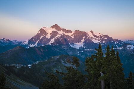 alpenglow: Mount Shuksan glowing with sunset, cascade range in Washington state