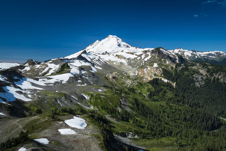 Ptarmigan Ridge on slopes of snowcapped Mount Baker, Washington state Cascades
