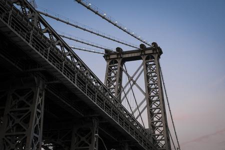 Upward view of Williamsburg Bridge, New York City