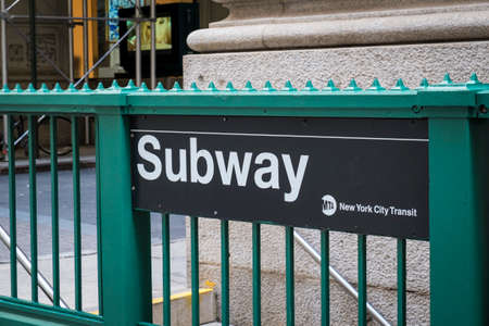 subway entrance: Signs for subway entrance in New York City