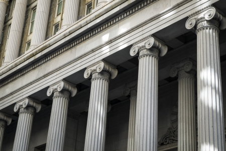 Financial District buildings with Greek columns, New York City