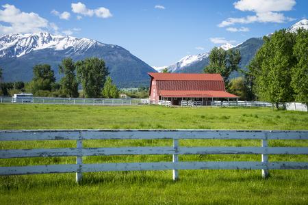 oregon  snow: Ranch land near the Wallowa Mountains in Oregon