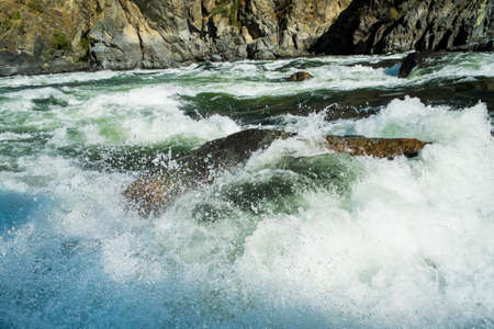whitewater: Rough and wild Whitewater rapids in Hells Canyon, Idaho Stock Photo