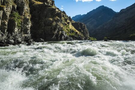 rapids: Rough and wild Whitewater rapids in Hells Canyon, Idaho Stock Photo