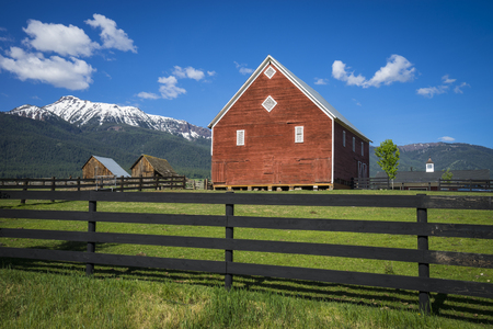 red barn: Red barn near the Wallowa Mountains in Oregon