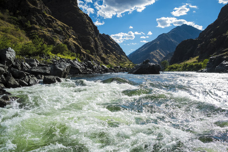Rough and wild Whitewater rapids in Hells Canyon, Idaho Stock Photo