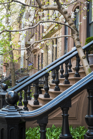 multifamily: Black cast-iron stairway railing in New York City apartment building