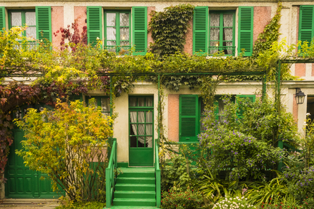 Monets pink house in his garden in Giverny, France Stock Photo
