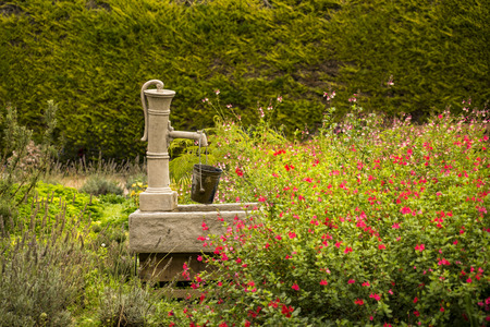 Antique pump in garden in, Giverny, France