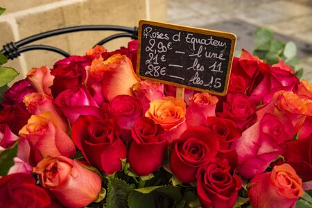 Roses for sale in Paris flower shop with labels displaying euros Stock Photo