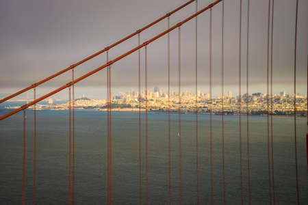 hiway: Golden gate Bridge seen from Marin headlands, with San Francisco in the background Stock Photo