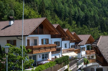 chalets: White chalets in south Tyrol region of northern Italy Editorial