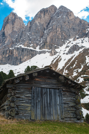 Old hut in the dolomite mountains in northern Italy