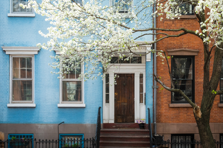 multifamily: Classic old apartment building in Greenwich Village, New York City Stock Photo