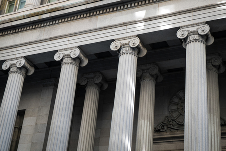 building wall: Financial District buildings with Greek columns, New York City