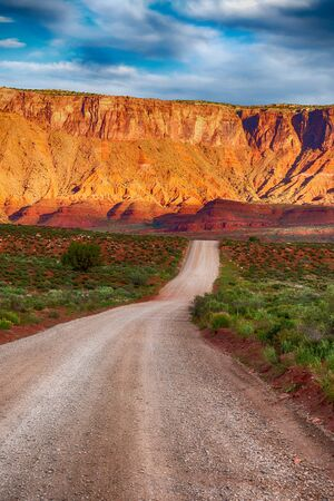 Gravel road through the desert of southern Utah