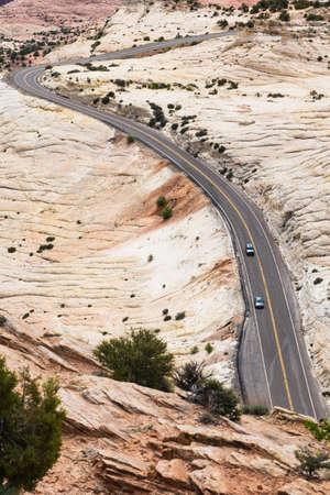 Traffic highway in a barren desert in southern Utah Stock Photo