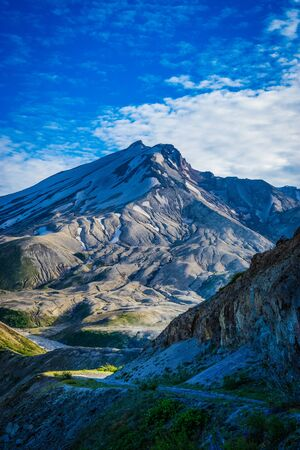 Mount Saint Helens volcano viewed from the north side with blast zone landscape