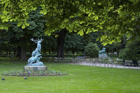 Standbeeld van een eland in de tuin van Luxemburg, Parijs, Frankrijk