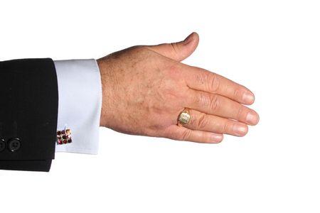 wrist cuffs: Hand extended awaiting handshake