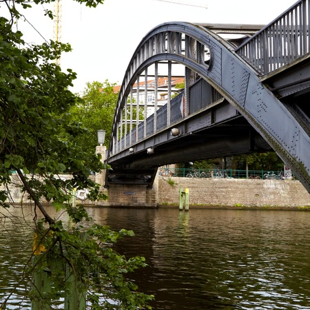Gericke Steg, 1914 15, was built from designs by Bruno MÃ ¶ hring and after damage in World War II restored Bellevue The bridge is a pedestrian bridge over the Spree River east of the train station Stock Photo