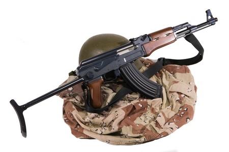 Current Iraqi Army Desert Camoflage Uniform with AK-47 Rilfe and Kelvar Helmet