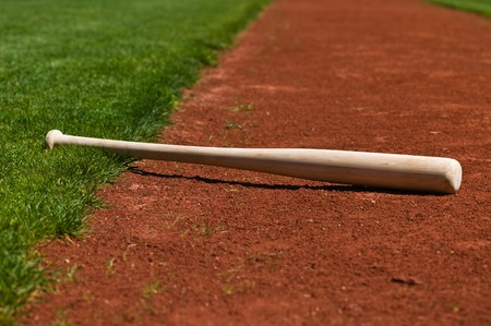 Baseball bat on a ball field