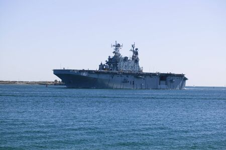 USS Peleliu LHA-5 Tarawa Class Aircraft and helicopter carrier entering San Diego Bay Stok Fotoğraf