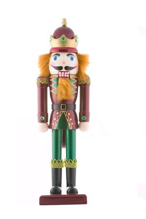 toy soldier: Nutcracker toy soldier isolated on white background.