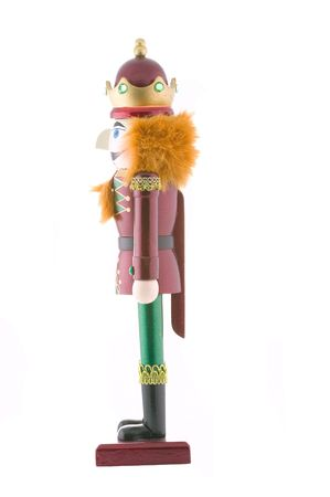 Nutcracker toy soldier isolated on white background.