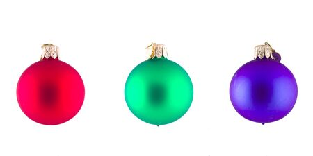 Isolated Red Green and Blue Christmas Balls