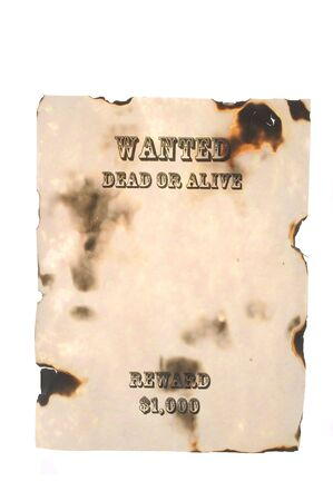 Wanted Dead or Alive Poster with burnt edges Stok Fotoğraf