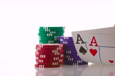 Stack of poker chips and two aces. Stock Photo - 4010989