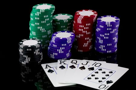 Stack of poker chips and a straight flush.
