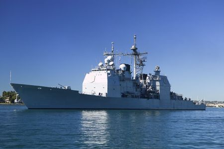 anchoring: Ticonderoga class guided missile cruiser at sea Stock Photo