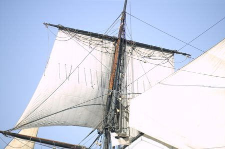 Close up of the Sails, Mast, and Rigging of a vintage tall ship Stok Fotoğraf