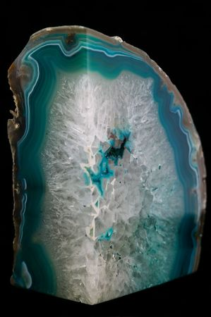 Emerald and clear crystal rock on an isolated black background Stok Fotoğraf