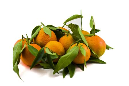 Mandarins with Leafs Stock Photo