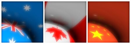 Australia Canada China Flag Stock Photo